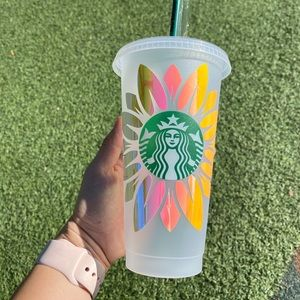 Personalized Holographic Sunflower Starbucks Cup